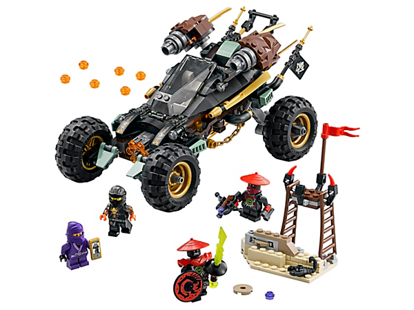 Attack the Stone Army's base camp with Cole RX's Rock Roader, featuring a 6-stud rapid shooter and detachable turret. Includes 4 minifigures and an Elemental Blade.
