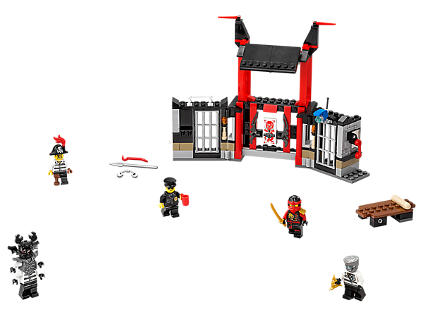 Bust Zane out of Kryptarium Prison, featuring 2 cells, an exploding wall, plus a table catapult with hidden treasure map and shuriken. Includes 5 minifigures.
