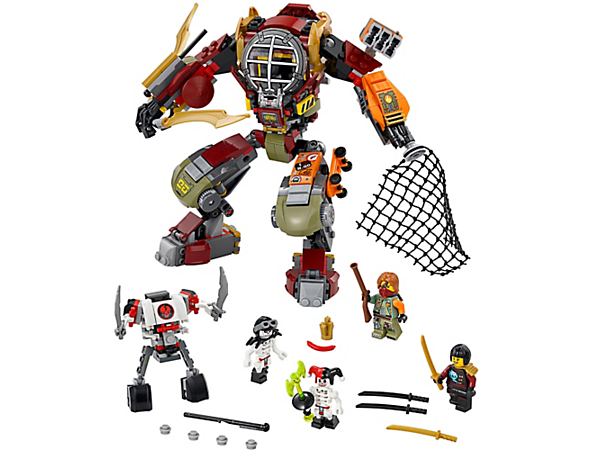 <p>Match the Skulkin mech vs. the Salvage M.E.C., featuring a spring-loaded shooter, net-stud shooter, detachable escape flyer and skateboard. Includes 4 minifigures.</p>
