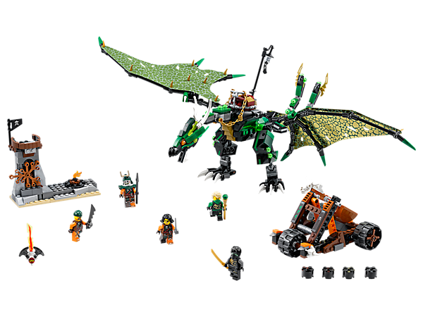 Take down the sky pirates with Lloyd's posable Green NRG Dragon, featuring foldable printed textile wings and a split tail with 2 stud shooters. Includes 5 minifigures.