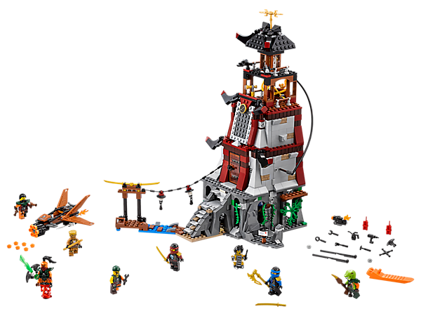 Repel the sky pirates' attack on the lighthouse, featuring trap-function steps, prison, lab, glowing light brick and jetty. Includes 7 minifigures and Tai-D robot.