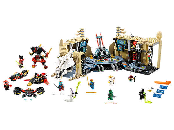 Defend the Samurai X Cave, featuring an opening skull entrance, inventor launchpad with buildable jet, laser prison, Samurai X mech and bike. Includes 8 minifigures.