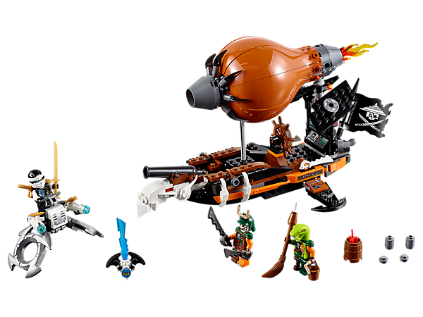 Confront Doubloon's Raid Zeppelin, featuring a spring-activated cannon, stud shooters and trapdoor function, with Zane's stud-shooting flyer. Includes 3 minifigures.