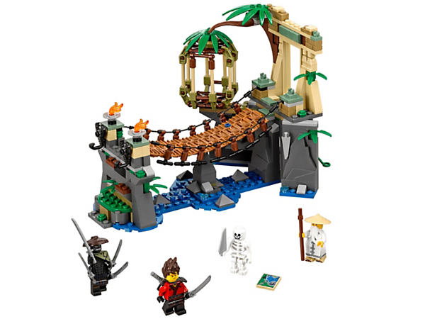 Stage a Wu vs. Jungle Garmadon showdown on the jungle bridge with an opening cage, hidden cave, skeleton and secret map. Includes 3 minifigures with weapons.