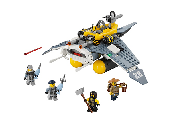 Match ninja Cole against the shark army's mighty Manta Ray Bomber, with 2 spring-loaded shooters, 2 bomb elements and a detachable boat. Includes 4 minifigures.