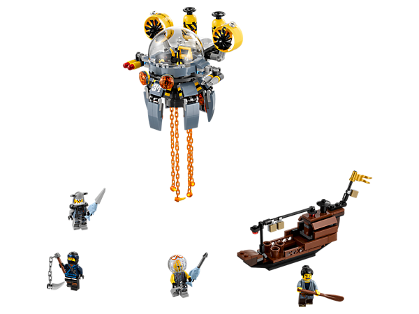 Team up with Jay to save Takuma's boat from the Flying Jelly Sub, featuring rotating legs, 2 flick missiles and swinging 'toxic' tentacles. Includes 4 minifigures.
