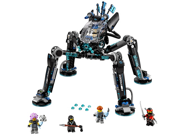 Overpower the shark army with Nya's Water Strider mech, featuring a 360-degree rotating minifigure cockpit, 6-stud rapid shooter and posable legs. Includes 4 minifigures.