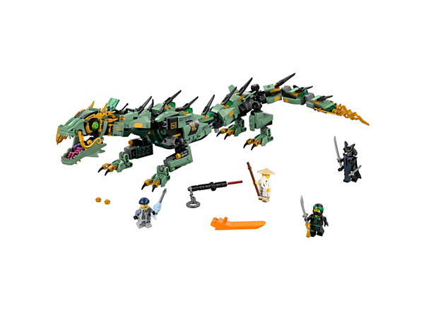 Battle Garmadon with the fully posable Green Ninja Mech Dragon, featuring a wheel-activated swooshing tail, stud shooters and hidden pop-out thrusters. Includes 4 minifigures.