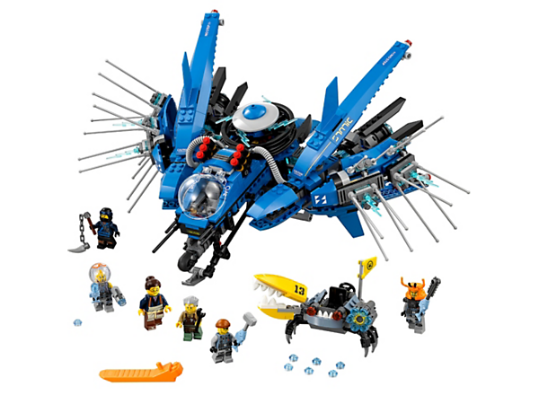 Swoosh into battle against the rapid-shooting crab with Jay's Lightning Jet, featuring a spring-loaded shooter and rotating electro-disc. Includes 6 minifigures.