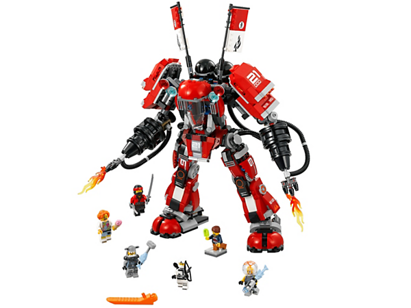 Stage a scorching battle against the shark army with Kai's massive Fire Mech, featuring an opening cockpit, disc shooters and fire blasters, plus 6 minifigures with weapons.