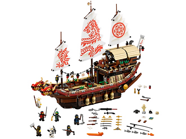 All aboard Destiny's Bounty, featuring wind-up-and-release anchors, Wu's dojo and bedroom, loads of hidden ninja weapons, plus 7 minifigures.