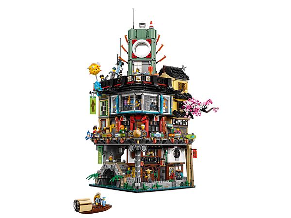 Live the high life with the 3-level NINJAGO® City featuring shops, apartments, restaurants, sliding elevator, bridge and loads more features and functions, plus 16 minifigures.