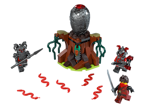 Help Kai defeat the Vermillion warriors and evade the Vermillion egg's explode function and snake elements to claim the Fast Forward Time Blade. Includes three minifigures.
