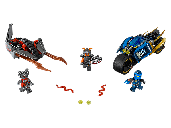 Race Jay's Desert Lightning bike, with foldout lightning elements and stud shooters, and beat the Vermillion racer to the Slow-Mo Time Blade. Includes three minifigures.