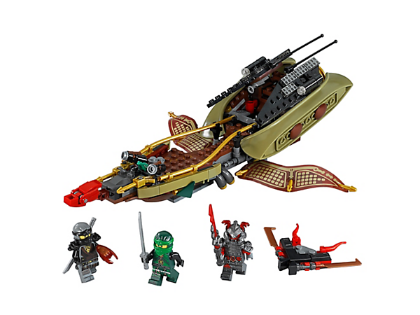 <p>Patrol the swamp aboard Destiny's Shadow, with flip-out wings, stud shooters and a canoe, plus a Vermillion hoverboard, Pause Time Blade and three minifigures.</p>