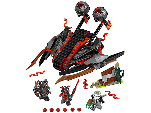 Evade the Vermillion Invader, with a dual egg catapult and a rubber track, and help Zane protect the Forward Time Blade. Includes a barrier and three minifigures.