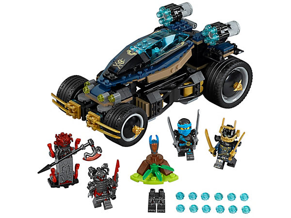 Beat the Vermillion to the Slow-Mo Time Blade in the Samurai VXL, with a special tilting steering system and dual six-stud rapid shooters. Includes four minifigures.
