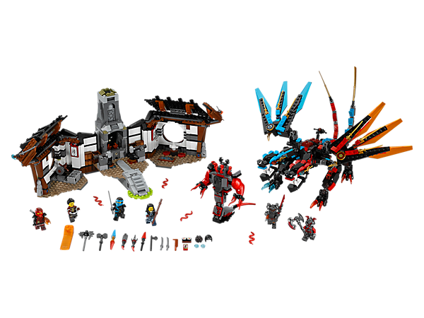 <p>Fly the Fusion Dragon to save Kai and Nya's parents from the Vermillion warriors and Buffmillion mech at Dragon's Forge. Includes six minifigures and Reversal Time Blade.</p>