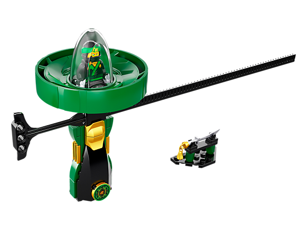 Spin like a true ninja with the Lloyd – Spinjitzu Master spinner with LEGO® brick handle, spinner element with minifigure capsule and rip cord, plus weapon rack and a Lloyd minifigure.