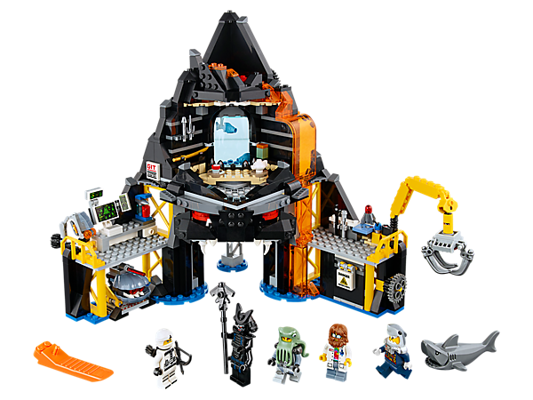 Enter Garmadon's Volcano Lair, featuring minifigure-launch and exploding wall functions, a rotating crane, computer lab and a shell drone, plus 5 minifigures and a shark figure.