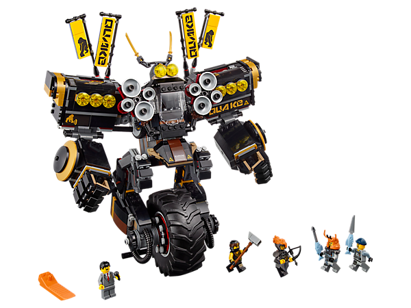 Blast the shark army with Cole's uni-wheel Quake Mech, with hidden 'soundwave'-shooting flick missiles, posable arms and gripping fists. Includes 5 minifigures with assorted weapons.