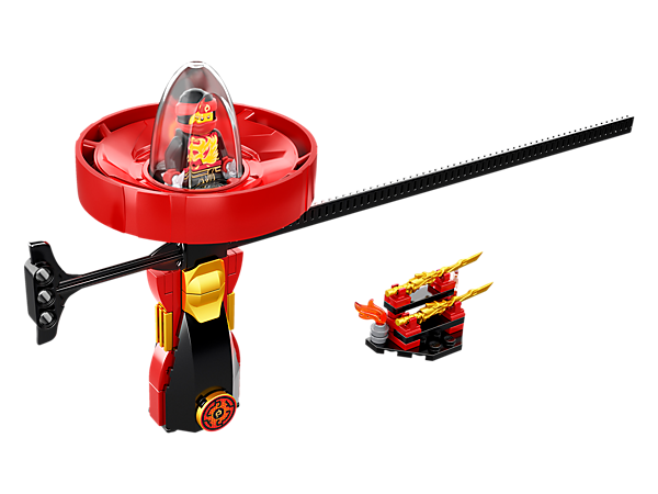 Perform cool tricks with the Kai – Spinjitzu Master spinner with LEGO® brick handle, spinner element with minifigure capsule and rip cord, plus weapon rack and a Kai minifigure.