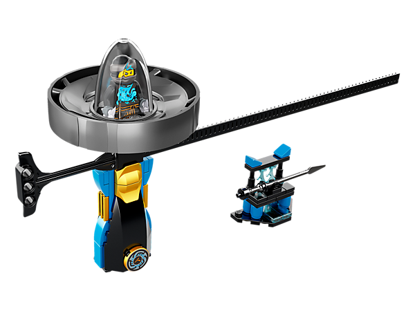 Spin to glory with the Nya – Spinjitzu Master spinner with LEGO® brick handle, spinner element with minifigure capsule and rip cord, plus weapon rack and a Nya minifigure.