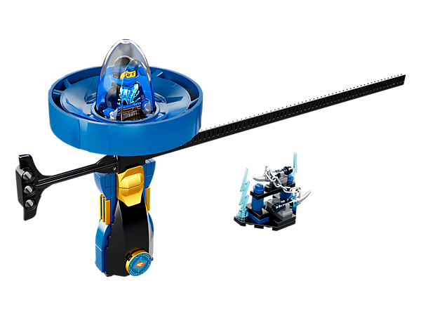 Jump into action with the Jay – Spinjitzu Master spinner with LEGO® brick handle, spinner element with minifigure capsule and rip cord, plus weapon rack and a Jay minifigure.