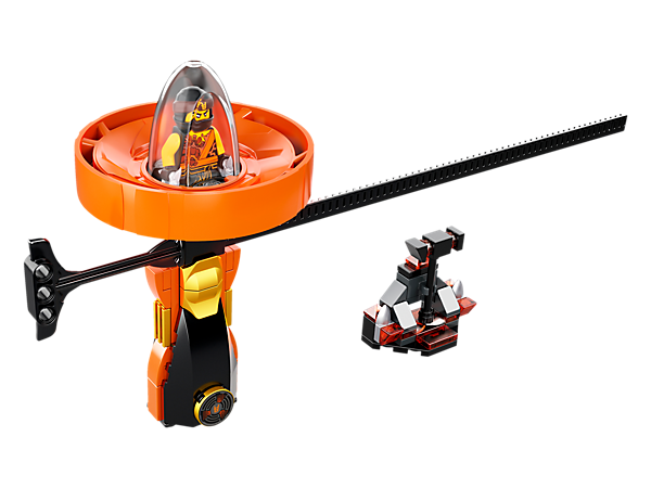 Build, rip and spin with the Cole – Spinjitzu Master spinner with LEGO® brick handle, spinner element with minifigure capsule and rip cord, plus weapon rack and a Cole minifigure.