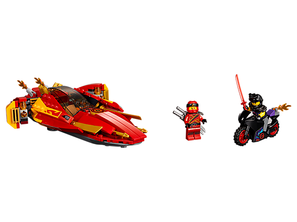 Join Kai's high-speed pursuit of Luke Cunningham's street bike with the Katana V11 boat, featuring speed/attack modes and hidden spring-loaded shooters, plus 2 minifigures.