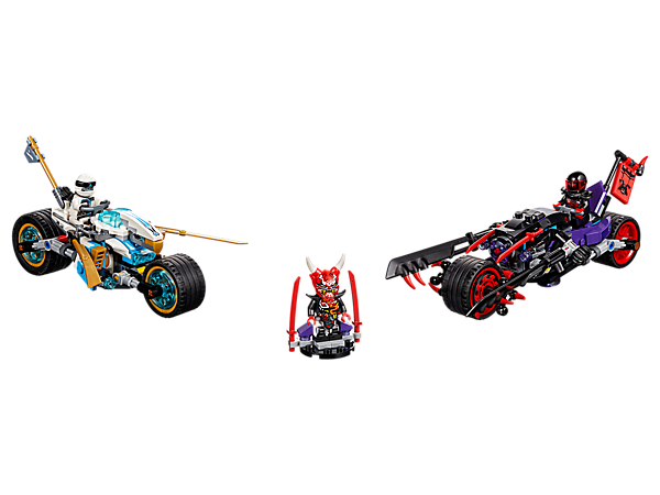 Race to grab the Oni Mask of Vengeance with Zane's bike, featuring detachable drone and stud shooters, plus Mr. E's Oni Bike with chopping blades and stud shooters, and 2 minifigures.