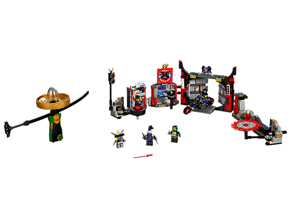 Spin Lloyd into battle with his Spinjitzu spinner at the S.O.G. Headquarters, featuring an explode-function entrance, bike and spinning weapons, plus 5 minifigures.