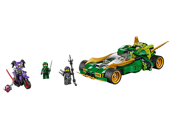 Battle Ultra Violet's Stone Booster bike with Lloyd's Ninja Nightcrawler, featuring speed/attack modes and shoot-on-the-go rapid shooters, plus 3 minifigures.
