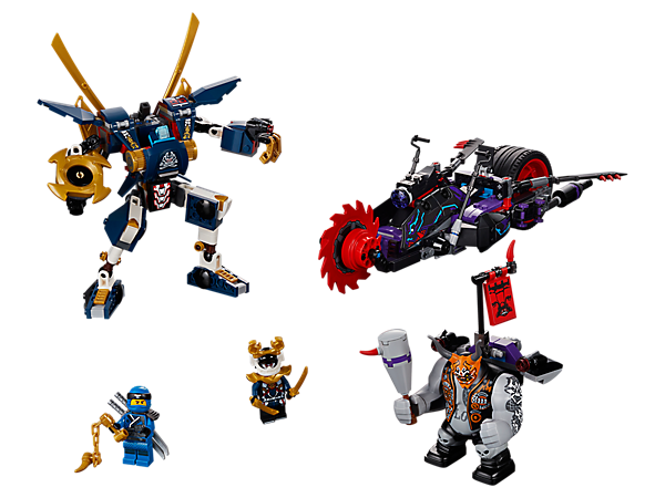 Stage a Killow vs. Samurai X duel with the Oni Chopper, featuring a spinning blade and flip-out blade, and the posable, weaponized Samurai X Mech. Includes 2 minifigures and a big figure.