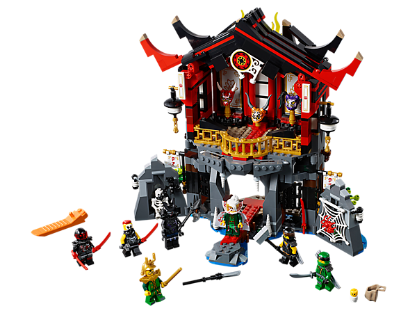 Enter the Temple of Resurrection, featuring a good-to-evil transformation function, Lord Garmadon's resurrection chamber, spider prison, trapdoor functions, 3 Oni masks and 7 minifigures.