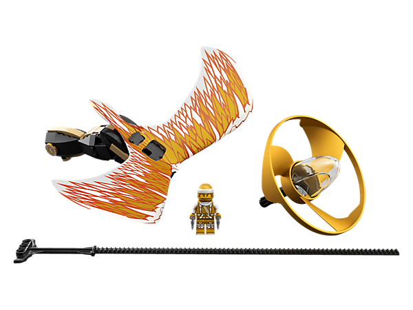 Perform awesome tricks and compete against friends with the Golden Dragon Master flyer, with a LEGO® brick handle, minifigure capsule, blade element, dragon wings and rip cord.