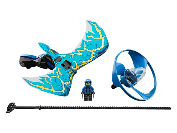 Learn cool tricks and compete against friends with the Jay - Dragon Master flyer, with a LEGO® brick handle, minifigure capsule, blade element, dragon wings and rip cord.