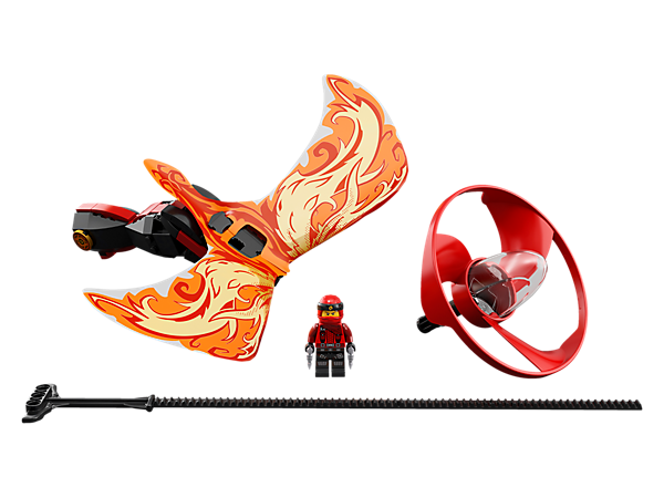 Execute aerial tricks and challenge friends with the Kai - Dragon Master flyer, with a LEGO® brick handle, minifigure capsule, blade element, dragon wings and rip cord.