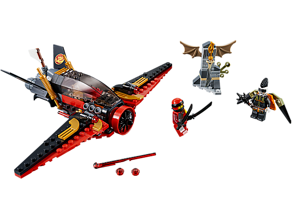 Battle Jet Jack for the Dragonbone Blade with Kai on Destiny's Wing, with spring-loaded/stud shooters. Includes 2 LEGO® NINJAGO® minifigures with katanas, spear and jetpack.
