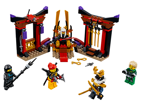 Help Nya, Skylor and Samurai X rescue Lloyd from Harumi in a LEGO® NINJAGO® Throne Room Showdown, with a throne with secret compartment, opening jail, smashing wall function and 5 minifigures.