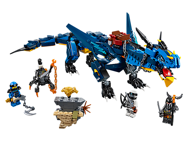 Battle for the Dragon Armor with LEGO® NINJAGO® Stormbringer the Lightning Dragon, featuring opening jaws, spring-loaded 'lightning bolt' shooters and a swiping tail, plus 4 minifigures.