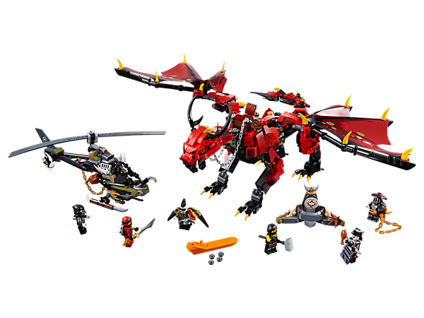 Evade the HunterCopter's stud shooters and Vengestone Chain with Firstbourne, with flapping wings and swiping tail functions, and claim the Dragon Armor. Includes 6 minifigures.