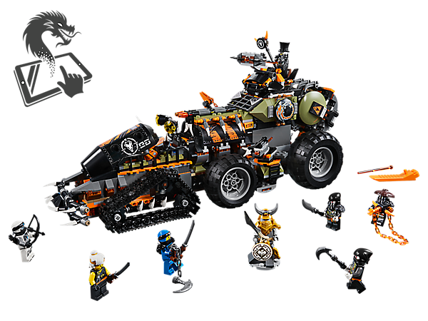 Defeat the Dragon Hunters' Dieselnaut, with spring-loaded shooters, crane function, jail and hidden weapon rack, and claim the complete Dragon Armor. Includes 7 LEGO® NINJAGO® minifigures.