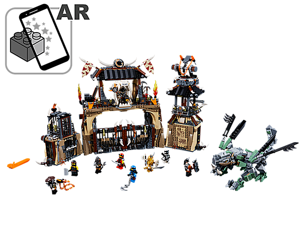 Enter the Dragon Pit with throne, gate-opening function, watchtower with dual missile shooter and a jail with trapdoor function, plus a posable dragon and 9 minifigures.