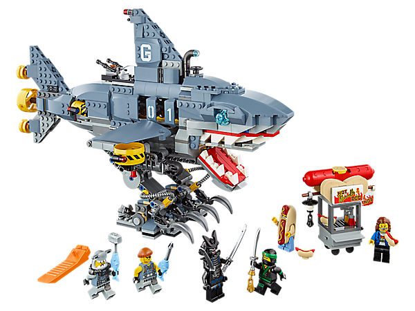 Help Lloyd save NINJAGO® City from garmadon, Garmadon, GARMADON! and his Shark Mech, with 2 opening minifigure cockpits, snapping jaws and shooting cannons. Includes 6 minifigures.