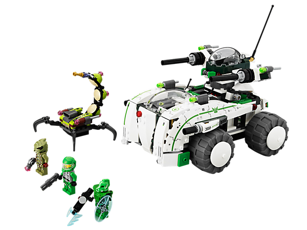 Take on the alien scorpion with the Vermin Vaporizer's laboratory, computer, flick missiles, cannons, split-function mech and battle buggy!