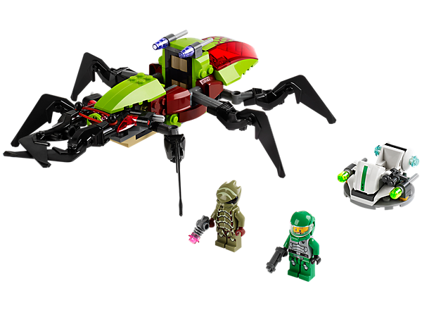 Help Galaxy Squad Chuck Stonebreaker and his hero hovercraft to stop the Crater Creeper with insect legs, chomping jaws and flick missiles!