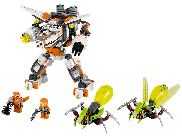 Defeat the alien abductoids with the Galaxy Squad orange team's split-function CLS-89 Eradicator Mech with rapid-fire missiles and more!
