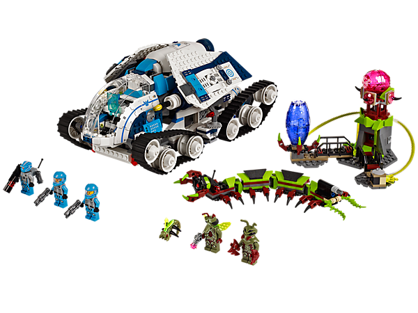 Deploy the Galaxy Squad's split-function Galactic Titan to defeat the alien caterpillar and hive tower with egg shooter and cocoon prison!