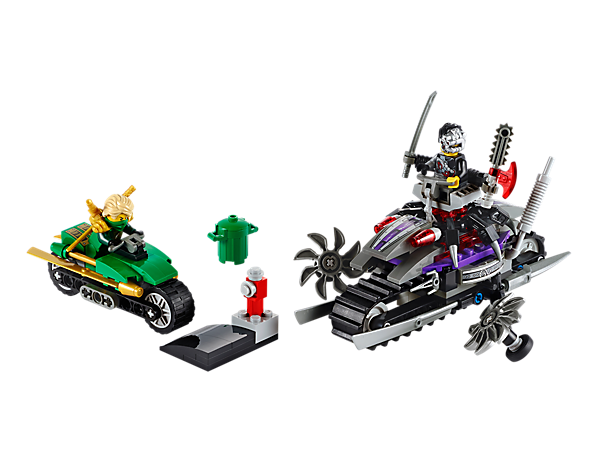 Escape on the Green Ninja cycle in OverBorg Attack with all-terrain tank bike, mech chair, spinning saw blades, jump ramp and 2 minifigures!